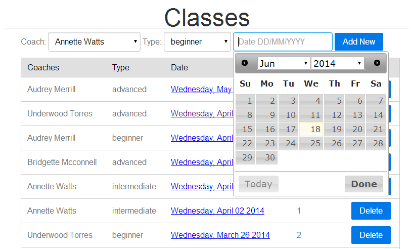 Classes HomePage